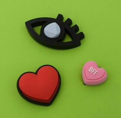 Crocs Jibbitz Charms *Eye, Red Heart, Pink BFF Heart*   ALL 3 for $7.99  *NEW!!!
