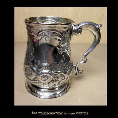 Antique 1792 Henry Chawner Sterling Silver Repoussed Mug London England