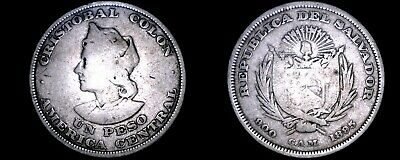 1895-C.A.M. El Salvador 1 Peso World Silver Coin - Christopher Columbus