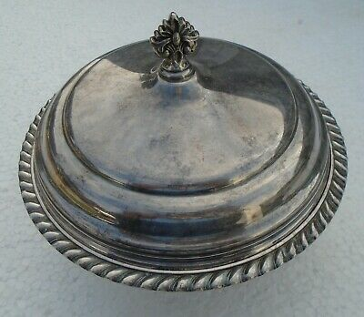 Covered Serving Dish Sheffield EPC 540 Silver Plate Round with Glass Insert