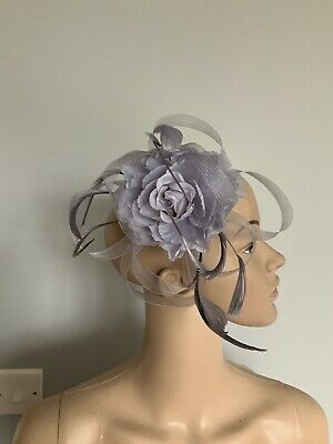 Silver Grey Flower Fascinator Hair Comb Wedding Ladies Race Day Accessories