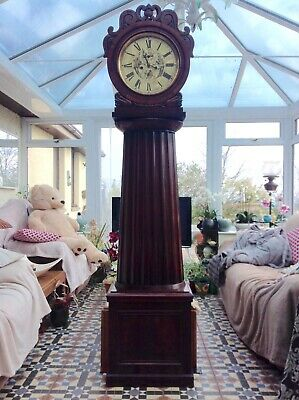 19th C Regency Mahogany Scottish drumhead column   longcase grandfather clock