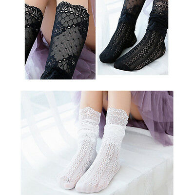 Women Lady Girls Fancy Fairy Retro Lace Ruffle Bow princess Socks LC