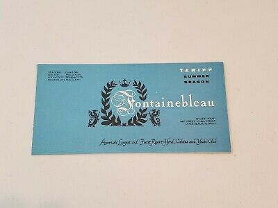 VINTAGE 1950s The FONTAINEBLEAU RESORT HOTEL CABANA YACHT CLUB BROCHURE MIAMI FL