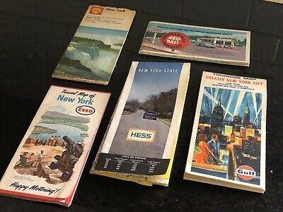 5 vtg 60s NEW YORK ROAD MAPS gas Oil Travel CAR TRUCK GULF HESS SHELL ESSO