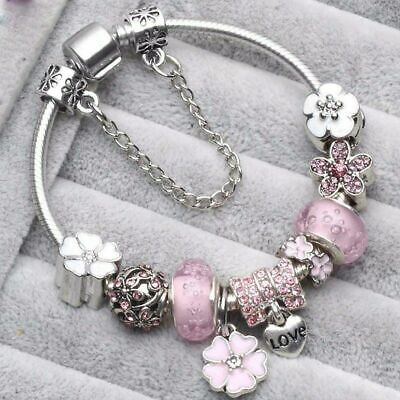 Pandora Charm Bracelet Silver Flowers European Charms Colors Most Sell