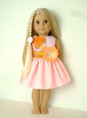 Handmade American Girl Our Generation Peach Summer Dress 18 Inch Doll Clothes