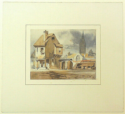 Antique 19th Century Victorian Watercolour Painting Church Village Signed c1890