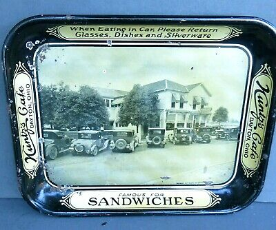 VINTAGE KUNTZ'S CAFE METAL SERVING TRAY with OLD CARS - DAYTON,OH.