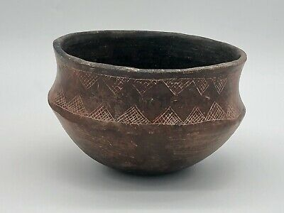 Authentic Pre-Columbian Incised Pottery Bowl