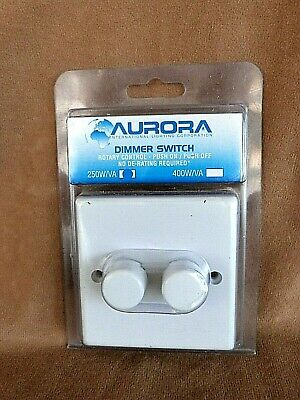 Aurora  2 Gang 2 Way Double  Light Dimmer Switch Push On Off 60W Min To 250W Max