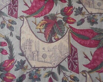 Vintage English Floral Old World Toile Cotton Fabric ~Magenta Ochre Eggplant