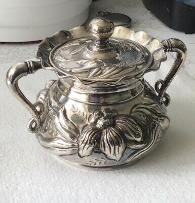 Wilcox Quad Plate  Sugar Bowl Embossed High Floral  Relief 5030