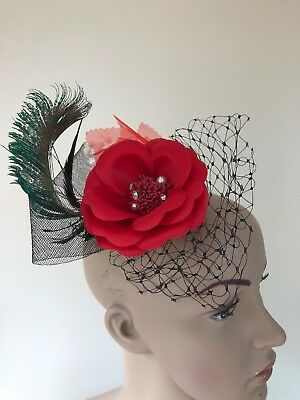 Red Flower Peacock Feather Black Clip Fascinator Ladies VE Day Accessories