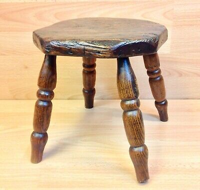 Early 19th Century Fruitwood Country Made Stool.