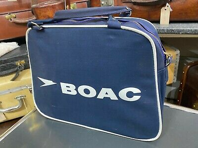 beautiful unused vintage canvas old stock boac travel hand cabin flight bag