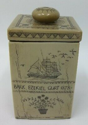 Vintage Faux Scrimshaw Fakeshaw Nautical Journey Gurt Antique Repro Lidded Box