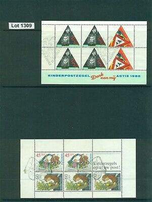 1309-NETHERLANDS-1985 Trafic Safety-1982 Child Welfare Souvenir Sheets-Used-