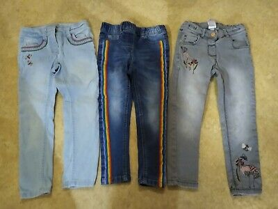 Girls NEXT X3 Pairs Skinny Jeans/Jeggings Embroidered Sequin Rainbow Age 3-4 yrs