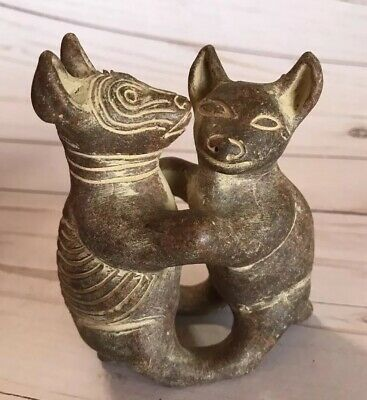 Colima dog pre columbian style pottery Mexican double folk art dogs