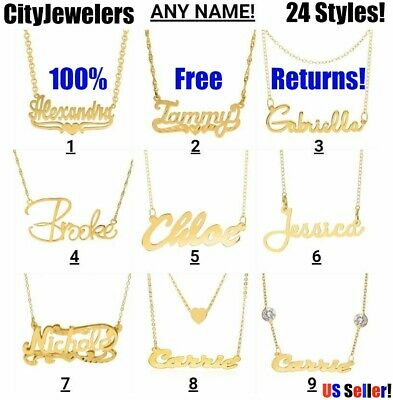 Personalized Sterling Silver Gold Plated Any Name Plate Script Chain Necklace