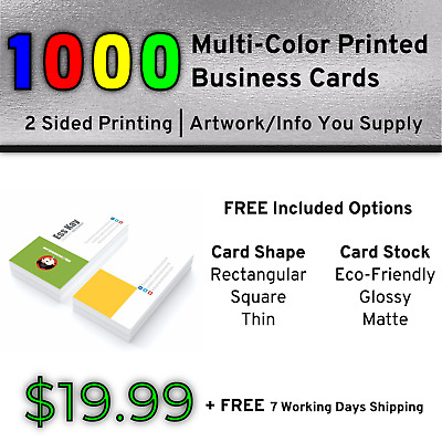 1000 Full Color Print Business Cards | Double Side Print + Other Included Option