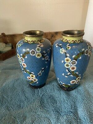 "Matched Pair of Chinese 8"" BLUE CLOISONNE VASES w/ Flowers -Brass/Enamel"
