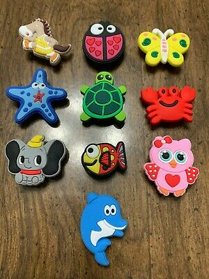 Cute Animals, Turtle, Lady Bug, Fish, Lobster 10 pc Shoe Charms/Bracelet Charms