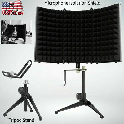Adjustable Music Studio Recording Isolation Shield Sound Absorber Foam Mic Stand