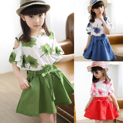 2PCS/Set Kids Girls Children Summer Clothes T-Shirt Tops+Skirt Outfits Age 7-12Y