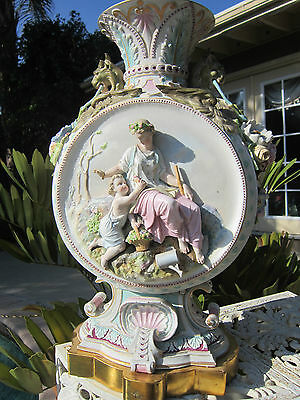 Antique French Sevres st  Bisque/Porcelain Figural Putti/scenic Relief Urn VASE