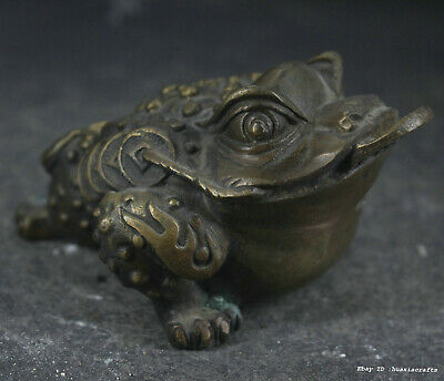 10cm collect Chinese Old Brass Bronze copper Animal copper cash Toad Statue W1W2