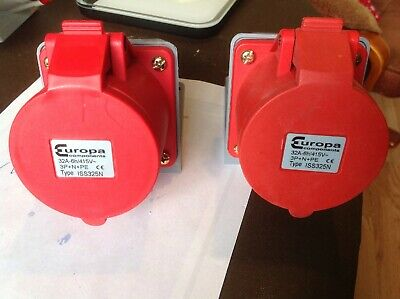 2 x Europa ISS325N 415V 3P+N+PE 32A Red Surface Socket 5 Pin