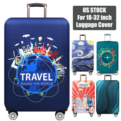 Colorful Jellyfishes Travel Luggage Cover Stretchable Pulling Cloth Suitcase Protector Fits 18-20 Inches Luggage
