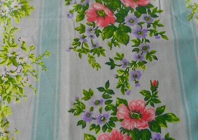 Vintage French Cottage Floral Stripe Cotton Fabric Curtain Panel ~ Aqua Coral