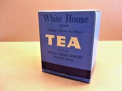 Vintage 1950's WHITE HOUSE TEA 1/2 Lb. Unopened Box Dwinell-Wright Boston, Mass.