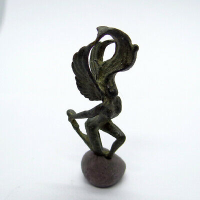 Greek Ancient Artifact Bronze Statuette With Woman