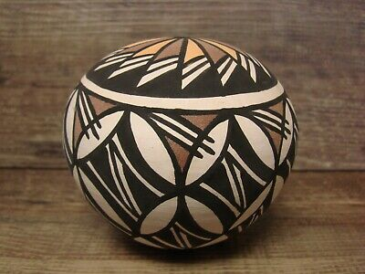 Acoma Indian Pottery Hand Painted Seed Pot by James Augustine
