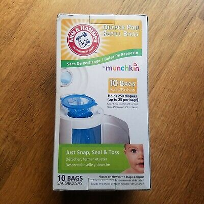 Diaper Pail Refill Bag 10 Counts Holds 250 Diapers Munchkin Arm & Hammer