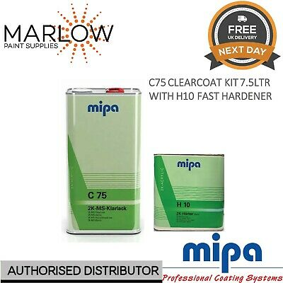 MIPA 2K MS Klarlack C75 CLEARCOAT LACQUER WITH H10 FAST HARDENER - 7.5LTR KIT