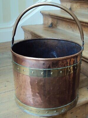 ANTIQUE 19th CENTURY large copper/brass coal bucket log storage vintage
