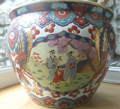 Chinese Figures Gold painted ceramic fish bowl planter Oriental pink 31x25cm