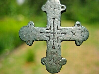 ANCIENT CROSS Pendant Bronze & ENAMEL Viking