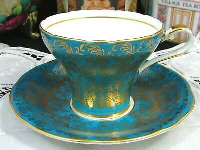 Aynsley Turquoise Blue Gold Gilt Floral Chintz Corset Tea Cup And Saucer
