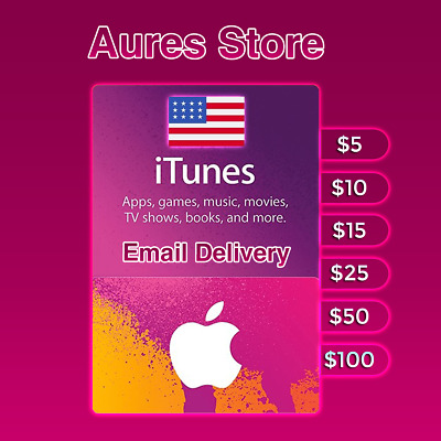 Apple Store iTunes Gift Card USA United Stated $5 $10 // Email Delivery