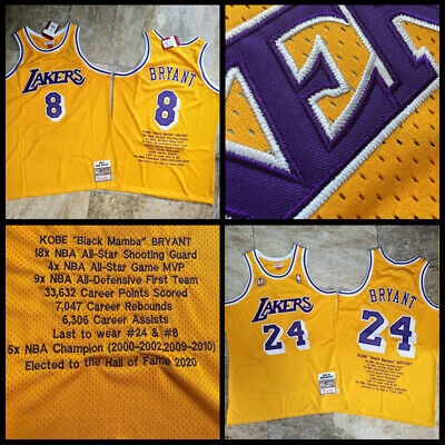 Career Honor KOBE BRYANT Retro Yellow Stitch Sewn Los Angeles Lakers Jersey