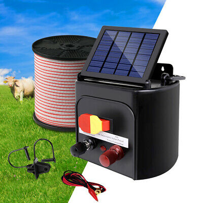 5km Solar Electric Fence Energiser Set Energizer Charger Tape Insulator Farm Kit