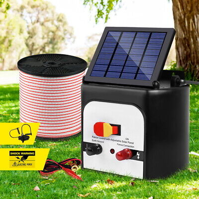 8km Solar Electric Fence Energiser Set Energizer Charger Tape Insulator Farm Kit