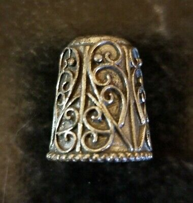 Antique Sterling Silver Thimble Heavy Filigree Nouveau Bali Unsigned Tested