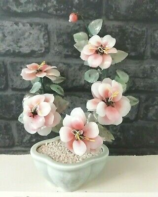 """Vintage Glass Asian Bonsai Tree Pink Blossom In Celadon Style Pot 11"""" x 8"""""""